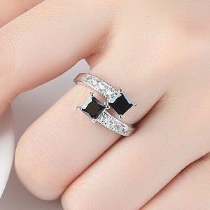 *ARLETH* Silver x Black Zircon Fashion Ring Size 8